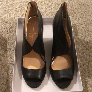 Black leather heels Jessica Simpson